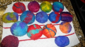 Felted Soaps - This is a mes of soaps that I'm working on for my Aunt's booth at the ACS Relay for Life in Jefferson City, next month.